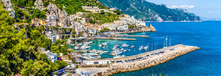 Scenic picture-postcard view of famous Amalfi Coast with beautif