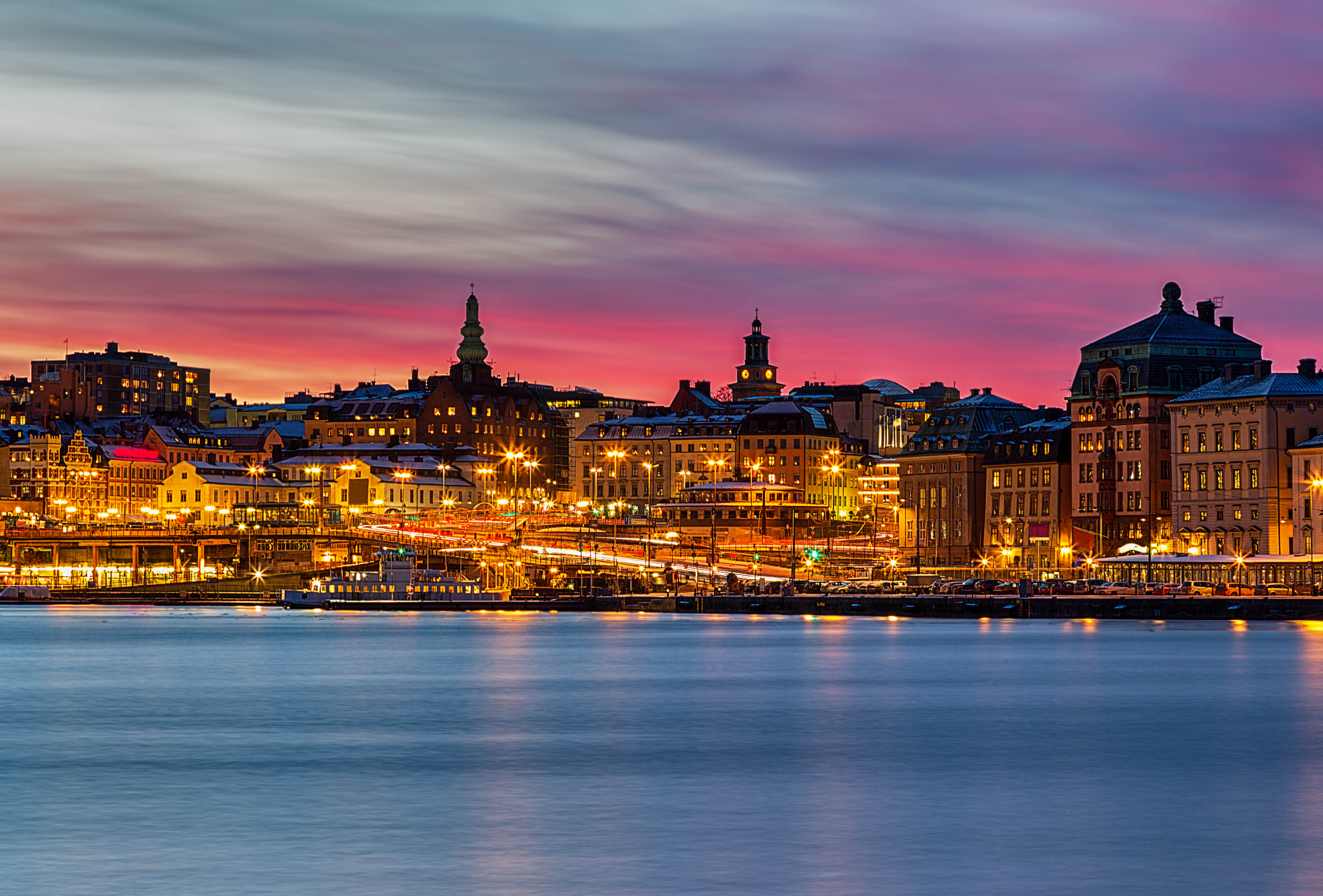 Beautiful pink sunset over Slussen in Stockholm city.