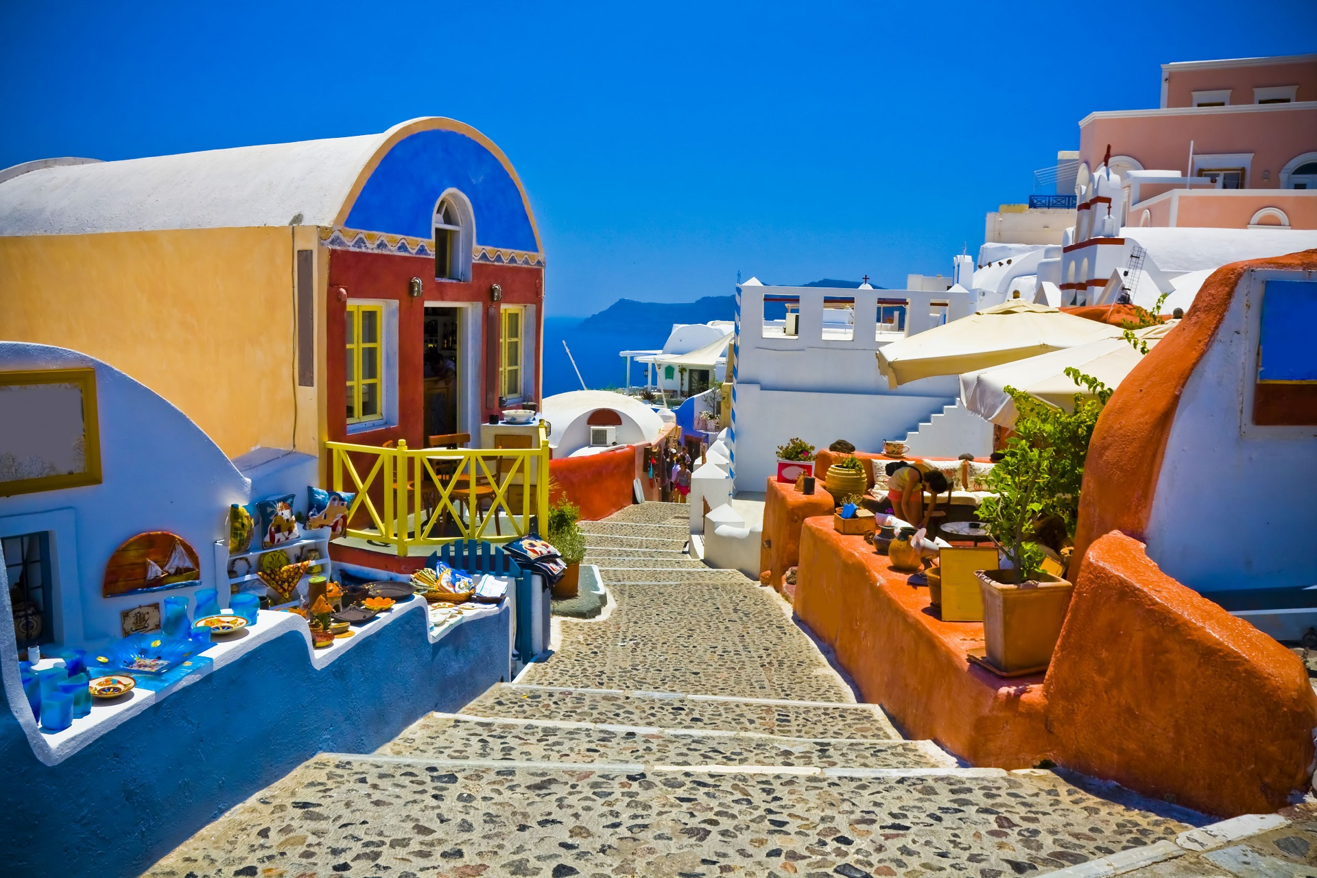 Street of Oia Santorin Greece shutterstock_120528478