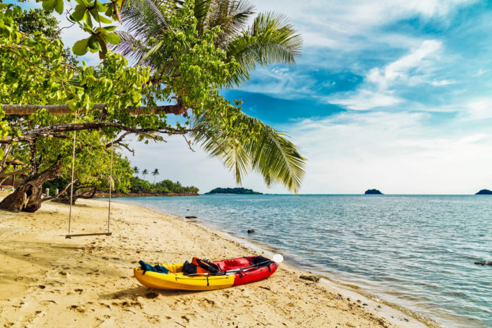 kayak at the tropical beach