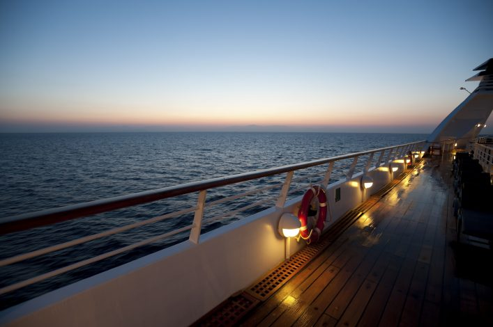 Sunrise on a luxury cruise liner
