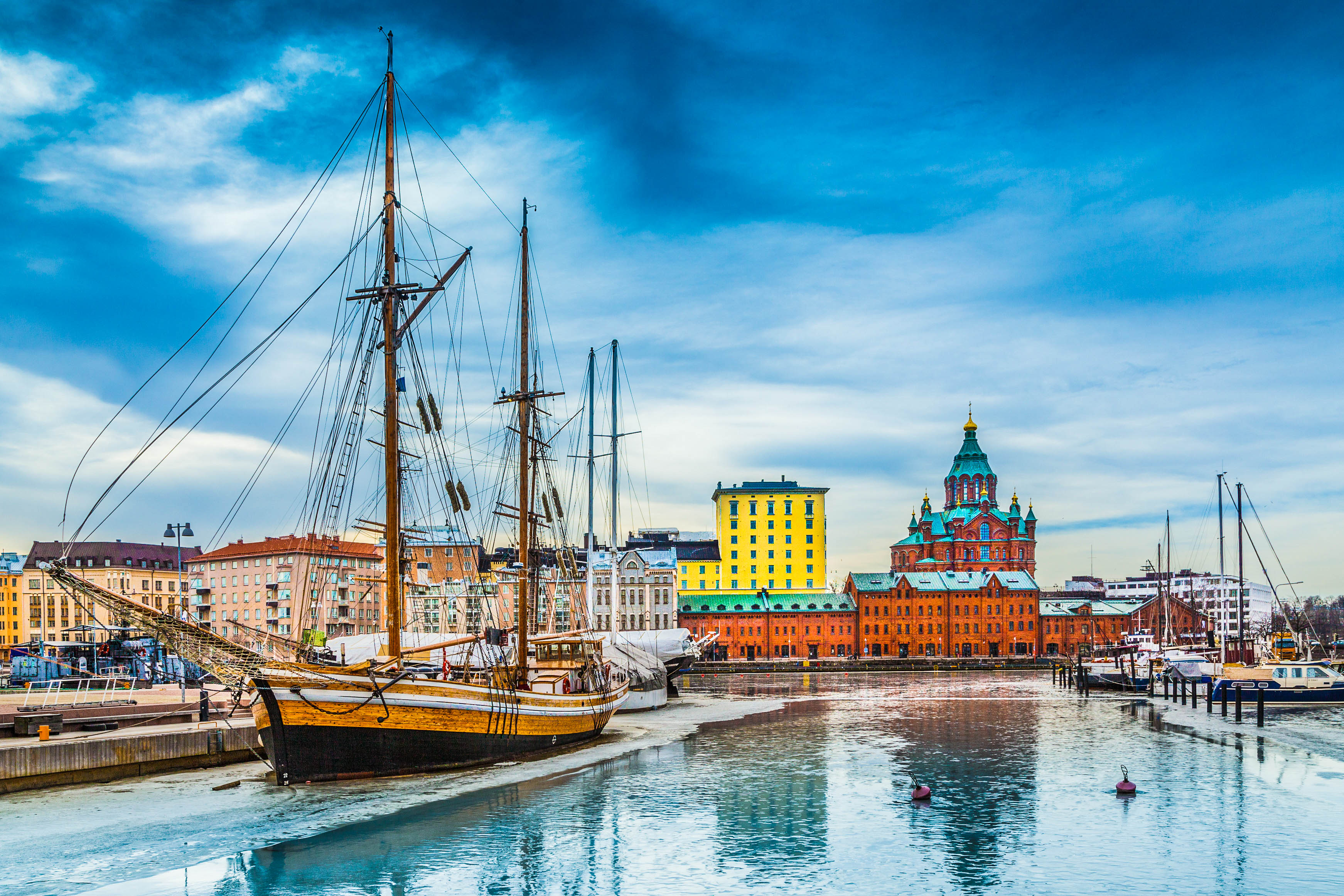 Helsinki city center with famous Uspenski eastern orthodox cathedral church shutterstock_367648301-2