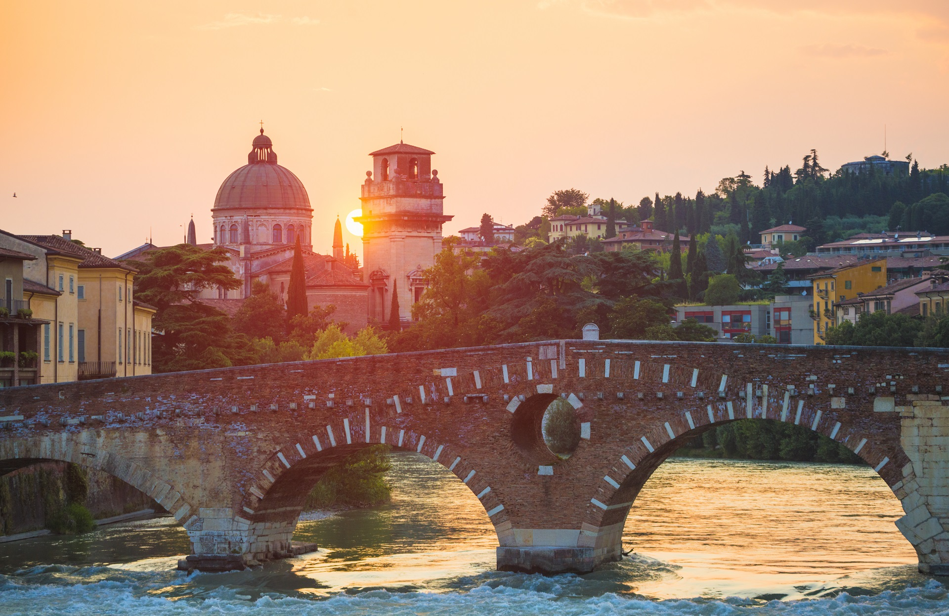 The Ponte Pietra in Verona at sunset