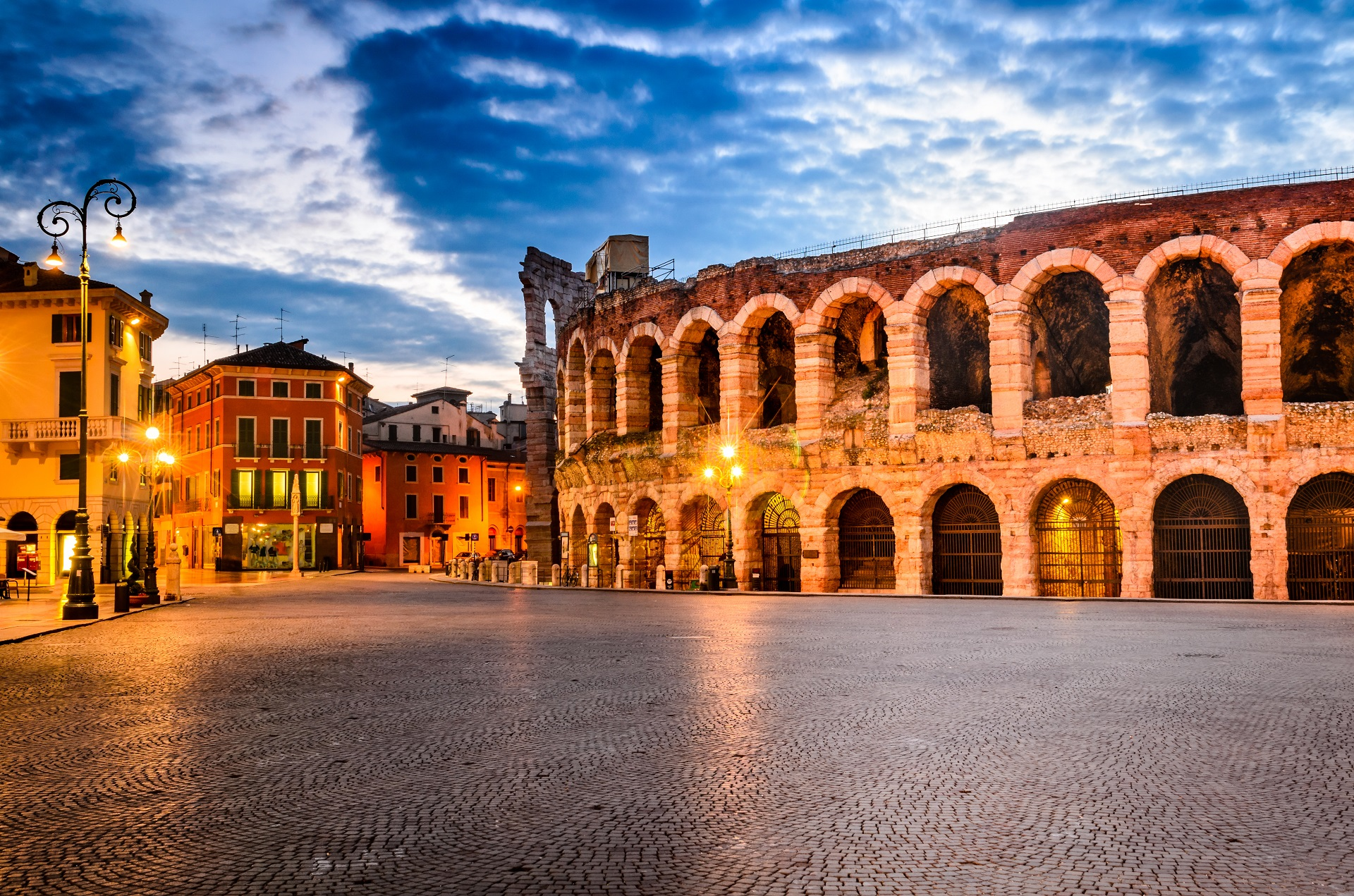 The arena in Verona at night