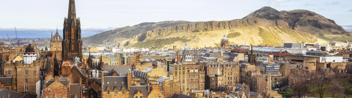 Looking Over Edinburgh Old Town To Arthurs Seat