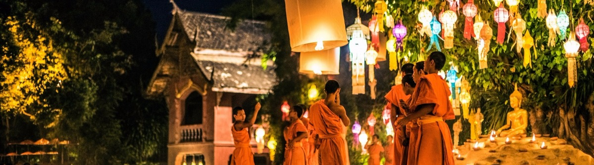 Monks at Phan Tao temple during the Loi Krathong Festival