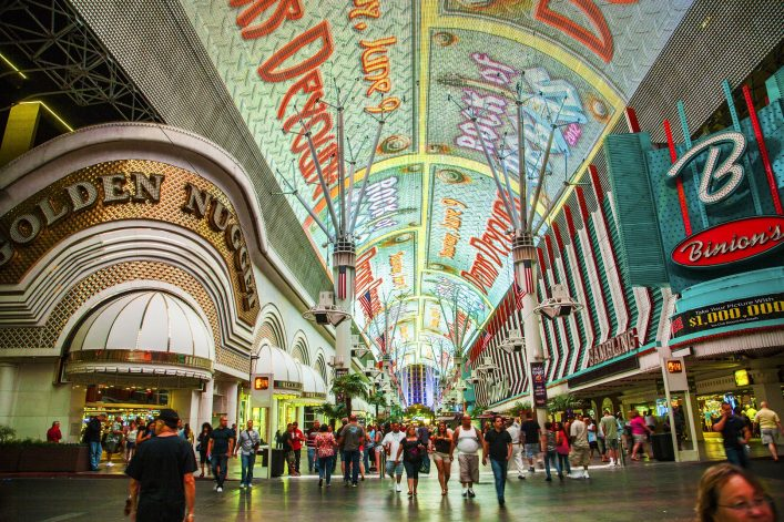 people enjoy Fremont Street in Las Vegas, Nevada by night