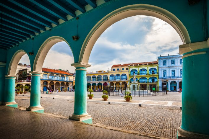 The-Old-Square-or-Plaza-Vieja-from-the-porch-of-the-Fototeca-de-Cuba-Old-Havana-Cuba-shutterstock_327158990-2