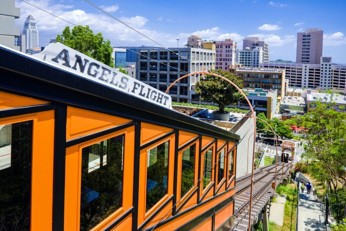"""""""Angels Flight funicular at Bunker Hill in Los Angeles, CA"""""""