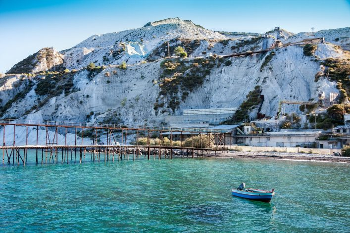 A disused pumice mine on Lipari, Aeolian Islands, Sicily, Italy shutterstock_431690479