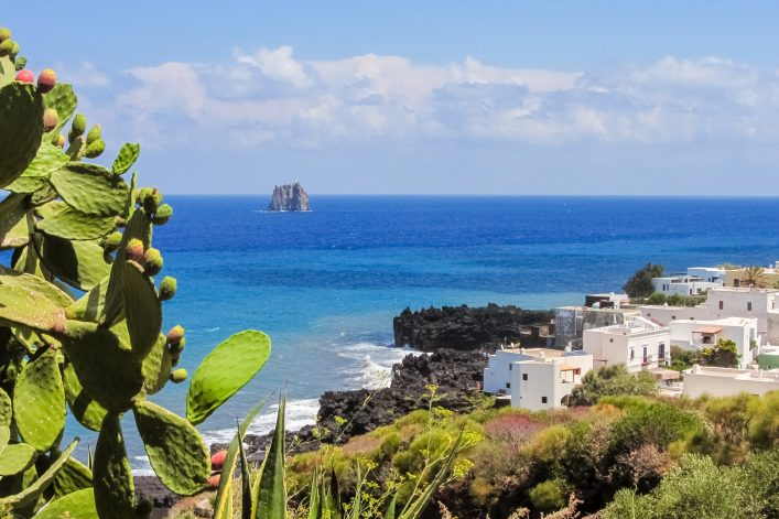 Coastline of Stromboli with white houses