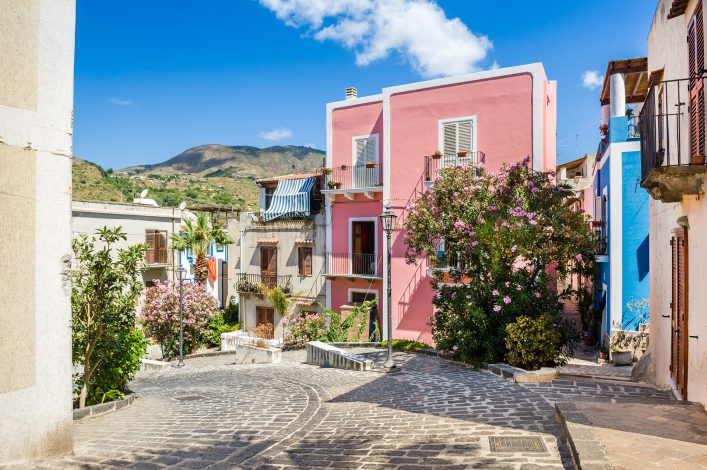 Lipari colorful old town streets. Sicily, Italy touristic places. Lipari colorful old town streets. Sicily, Italy touristic places. shutterstock_213370519