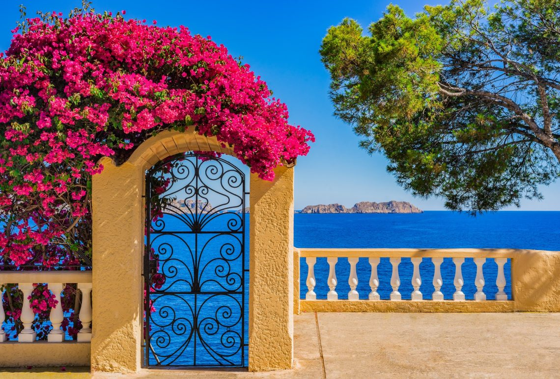 Idyllic sea view of the Mediterranean Sea Spain, at the coastline of Majorca island, Balearic Islands