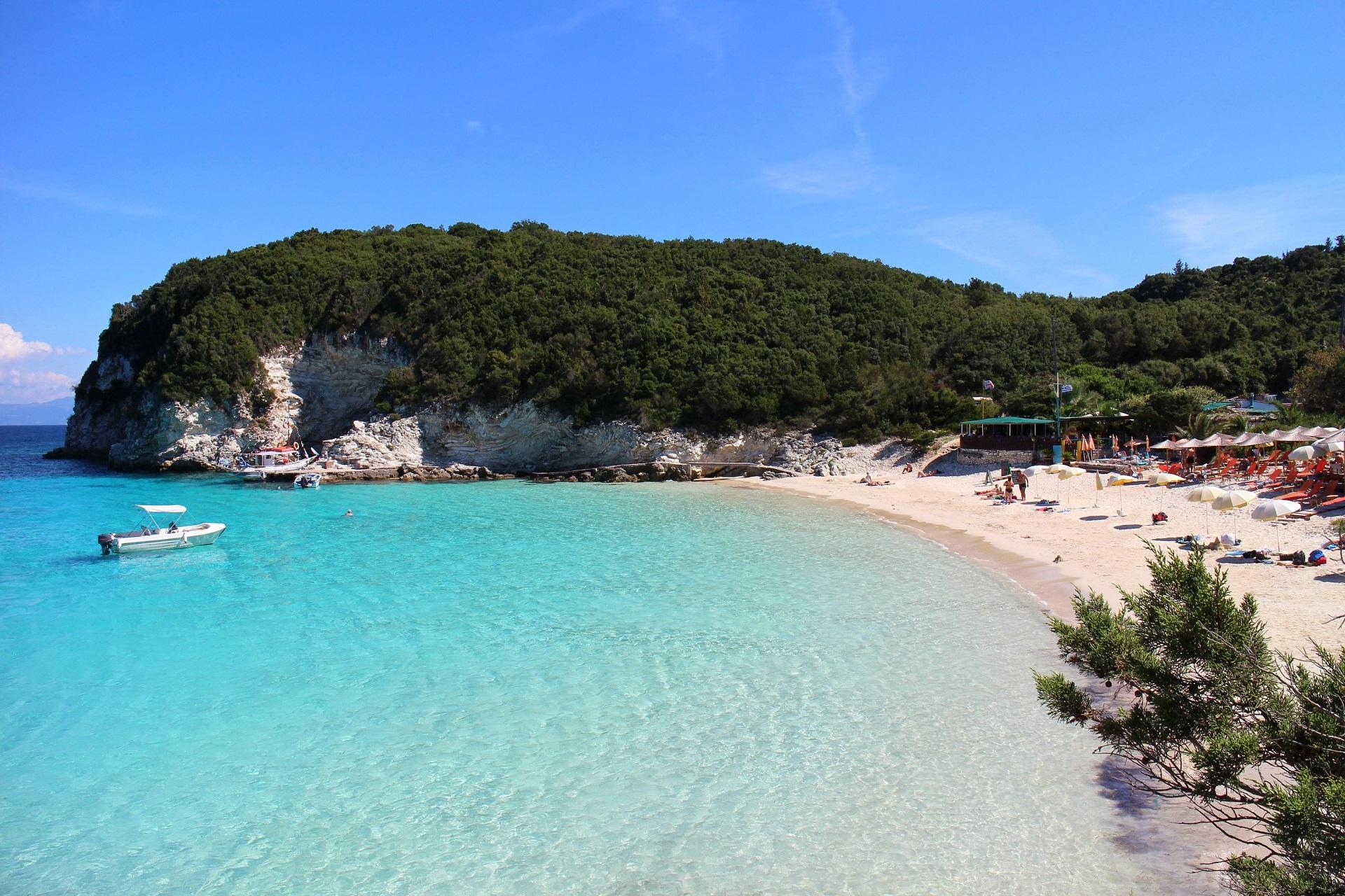 Vrika beach auf Antipaxos in Griechenland