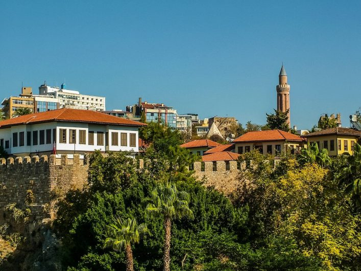 View-of-Antalya-from-the-old-port-in-the-ancient-district-of-Kaleici-.-On-the-right-Yivli-minaret.-Turkey-shutterstock_1076753867