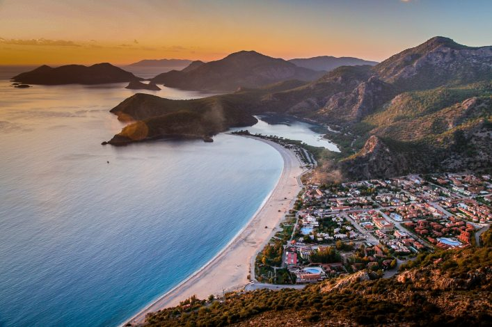 Sunset over the sea in Oludeniz