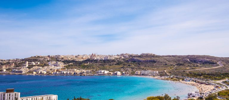 Mellieha bay and beach on a sunny day on Malta