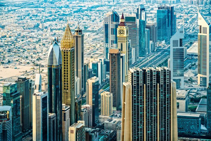 Modern skyscrapers in Downtown Dubai, United Arab Emirates