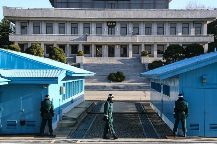 Soldiers guard the border between North and South Korea