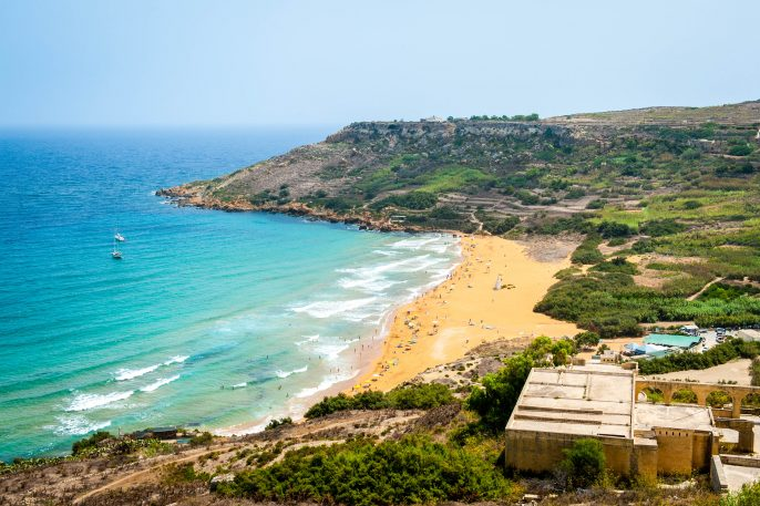 Ramla bay beach in Gozo island, Malta