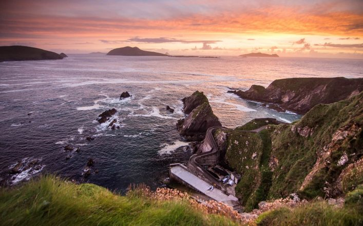 Sunset-over-Dunquin-Pier-and-the-Blasket-Islands-on-the-rocky-Atlantic-coast-of-Dingle-Peninsula-in-Irelands-County-Kerry..-shutterstock_502271272