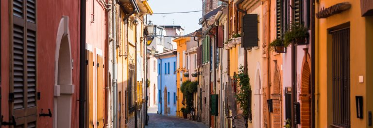 Fishing street with colorful houses in Rimini
